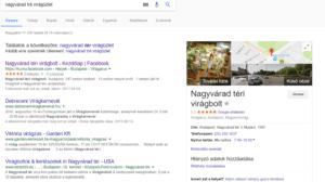 Google maps térképen való megjelenés